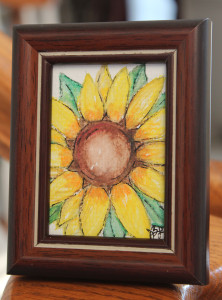 Sunflower framed small with easel